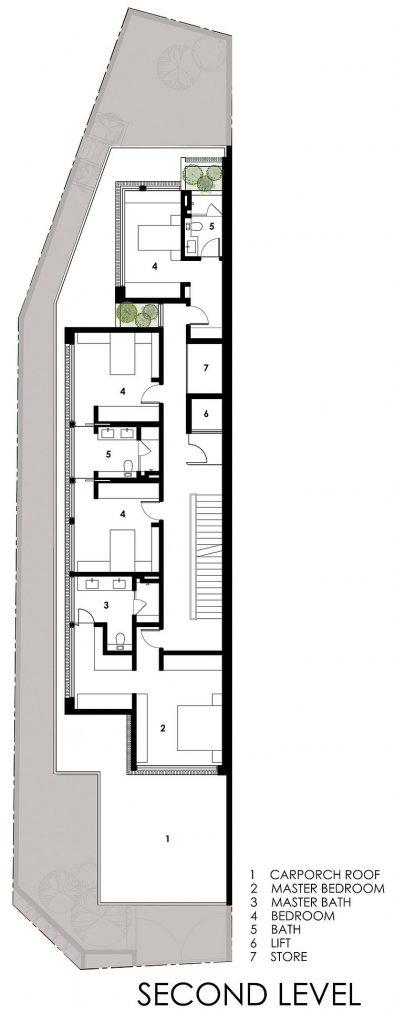 Nhà biệt thự phố hiện đại trên khu đất dài và méo-09