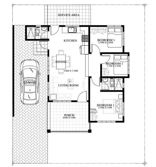 Nhà cấp 4 đẹp đơn giản diện tích 200m2 có 3 phòng ngủ - 4