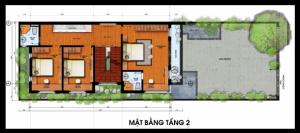 Mặt bằng tầng 2 mẫu thiết kế nhà đẹp 7x16m hiện đại