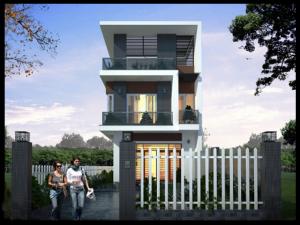 Phối cảnh mặt đứng mẫu thiết kế nhà đẹp 7x16m hiện đại