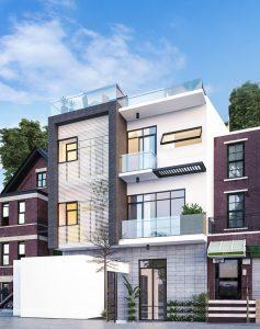 Phối cảnh thiết kế biệt thự 3 tầng hiện đại diện tích 15x8m