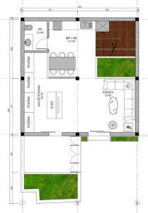 Mặt bằng tầng 1 thiết kế biệt thự 3 tầng hiện đại diện tích 15x8m