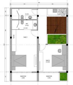 Mặt bằng tầng 2 thiết kế biệt thự 3 tầng hiện đại diện tích 15x8m