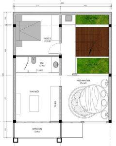 Mặt bằng tầng 3 thiết kế biệt thự 3 tầng hiện đại diện tích 15x8m