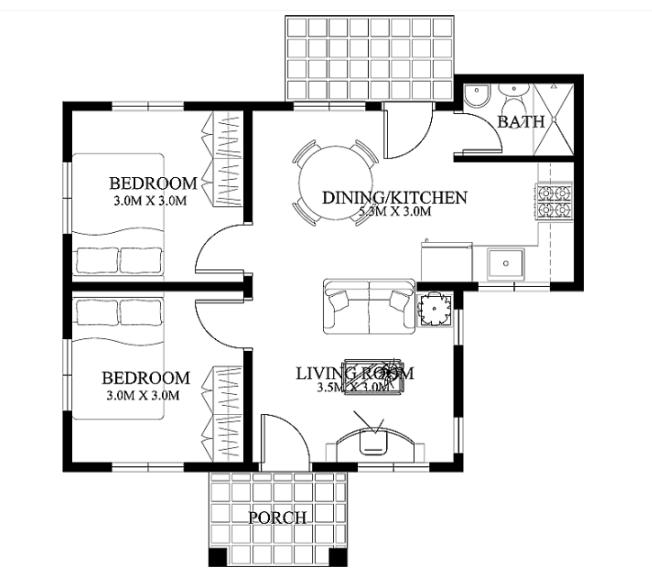 Thiết kế nhà cấp 4 có 2 phòng ngủ, diện tích sàn 52m2-03