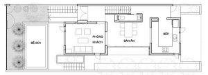 Mặt bằng công năng tầng 1 thiết kế nhà phố đẹp 3 tầng trên lô đất 4x12m