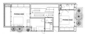 Mặt bằng công năng tầng 2 thiết kế nhà phố đẹp 3 tầng trên lô đất 4x12m