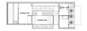 Mặt bằng công năng tầng 3 thiết kế nhà phố đẹp 3 tầng trên lô đất 4x12m