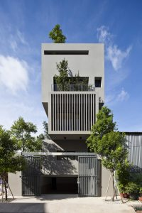 Ngoại thất thiết kế nhà phố đẹp 3 tầng trên lô đất 4x12m
