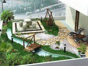 Thiết kế sân vườn tiểu cảnh đẹp mắt - 1