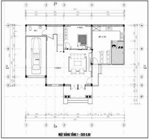 Mẫu thiết kế biệt thự đẹp nhà vườn 3 tầng 10x15m- Mặt bằng tầng 1