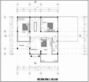 Mẫu thiết kế biệt thự đẹp nhà vườn 3 tầng 10x15m- Mặt bằng tầng 2