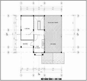 Mẫu thiết kế biệt thự đẹp nhà vườn 3 tầng 10x15m- Mặt bằng tầng 3