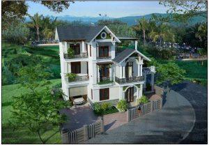 Mẫu thiết kế biệt thự đẹp nhà vườn 3 tầng 10x15m- Phối cảnh góc