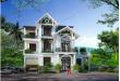 Mẫu thiết kế biệt thự đẹp nhà vườn 3 tầng 10x15m- Phối cảnh tổng thể
