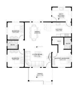 Nhà cấp 4 đẹp kết hợp nhà vườn 10x14,8m - Mặt bằng công năng