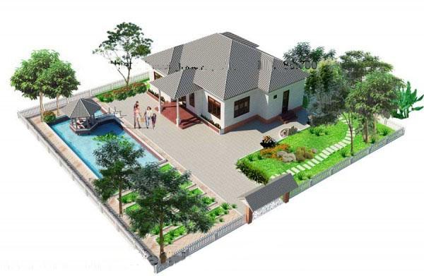 Thiết kế kiến trúc nhà vườn đẹp 1 tầng 12x13m- Phối tổng thể