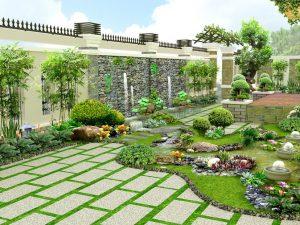 Thiết kế sân vườn tiểu cảnh đẹp cho nhà ở biệt thự