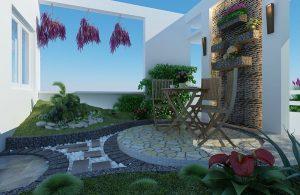 Thiết kế sân vườn tiểu cảnh đẹp cho nhà ở có sân thượng