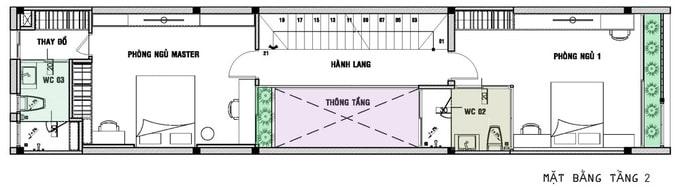 Nhà ống 3 tầng dài hẹp - Mặt bằng tầng 2