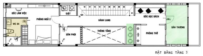 Nhà ống 3 tầng dài hẹp - Mặt bằng tầng 3