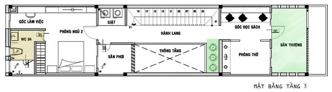 Nhà ống 3 tầng dài hẹp vẫn đủ sáng 4,5x20m. 3