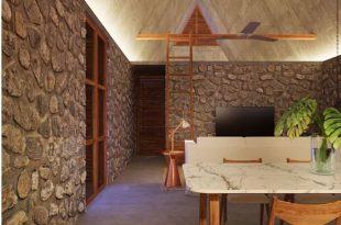 Trang trí nhà ống đẹp với tường đá 2