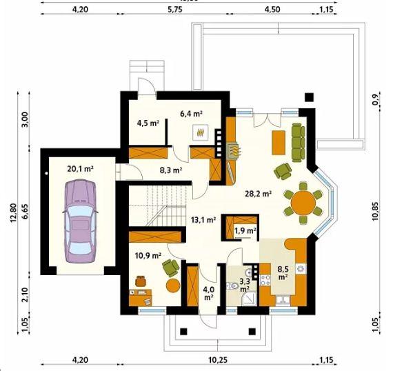 Thiết kế nhà biệt thự 2 tầng 10,2x12,8m đẹp nhẹ nhàng 2