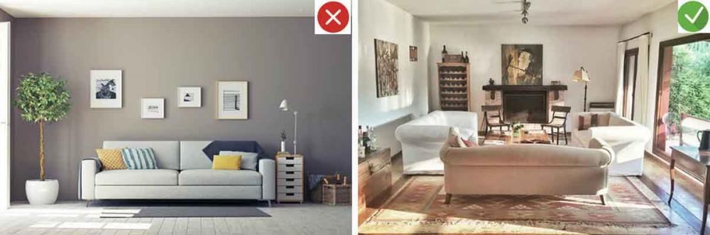 Những sai lầm trang trí phòng khách nhà ống cần tránh. 3