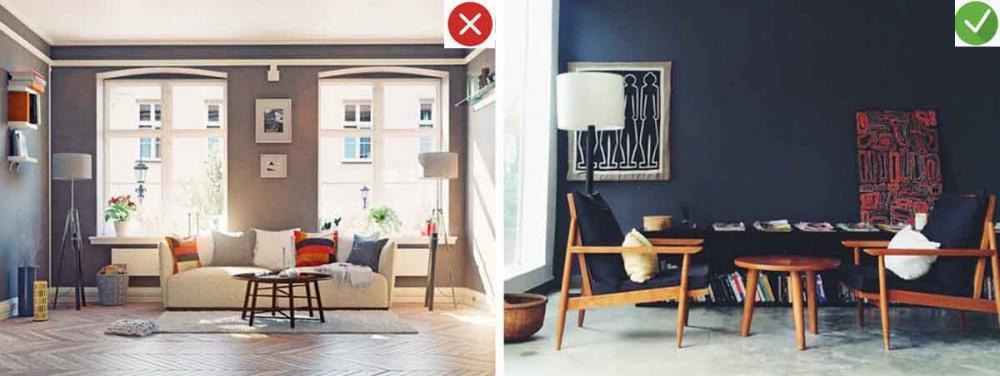 Những sai lầm trang trí phòng khách nhà ống cần tránh. 5