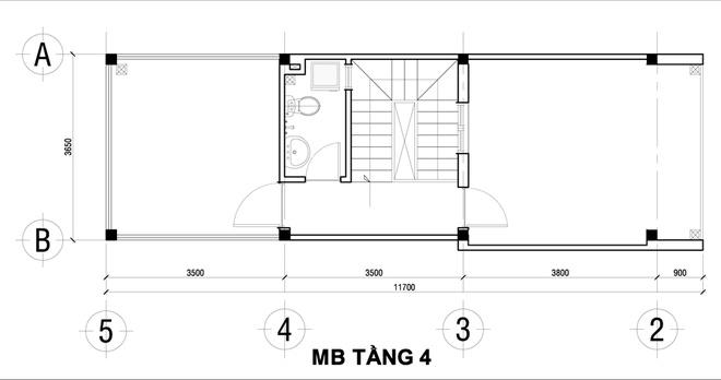 Nổi bật kiến trúc nhà ống hiện đại 4 tầng 50m2. 5