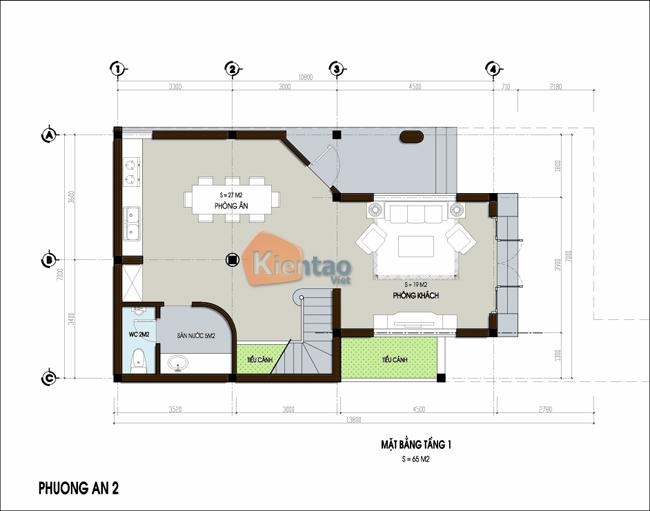 Thiết kế nhà phố 3 tầng chữ L 7x13,8m. 1
