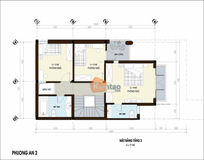 Thiết kế nhà phố 3 tầng chữ L 7x13,8m. 2