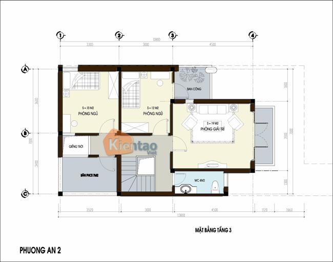 Thiết kế nhà phố 3 tầng chữ L 7x13,8m. 3