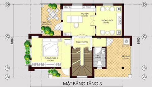 Biệt thự 3 tầng mái thái hiện đại 80m2. 4
