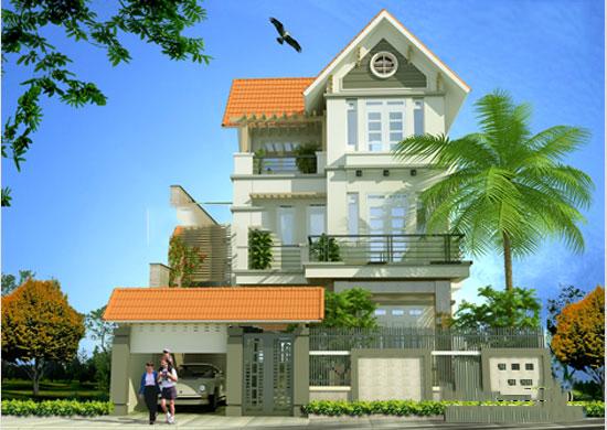 Biệt thự 3 tầng mái thái hiện đại 80m2