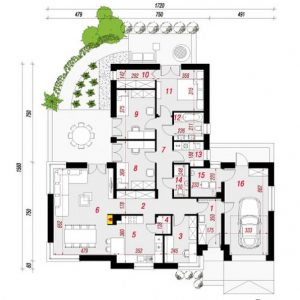 Mau nhà vườn 1 tầng đẹp 120m2. 6