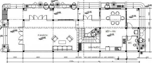 Tầng 1 - Biệt thự 2 tầng hiện đại mái thái 7x21m