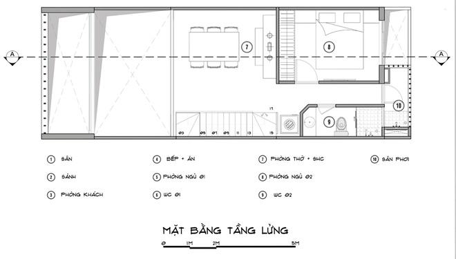 Tư vấn thiết kế nhà phố 1 tầng 1 lửng 5x14m. 2