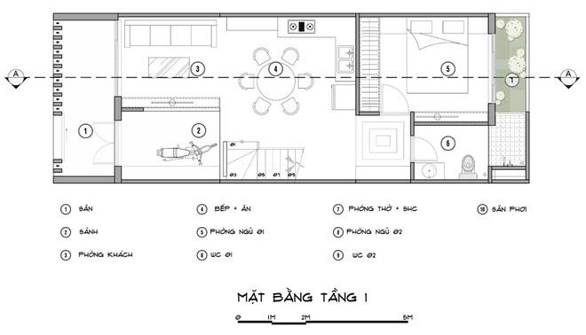 Tư vấn thiết kế nhà phố 1 tầng 1 lửng 5x14m
