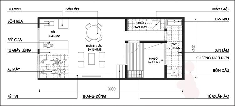 Mẫu nhà đẹp 1 tầng 1 tum 40m2 hiện đại-1