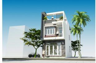 Thiết kế nhà ống hiện đại 3 tầng 5x16m ở Hưng Yên - Phối cảnh kiến trúc góc 01