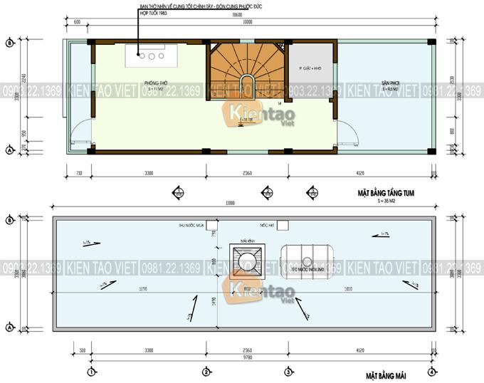 Thiết kế nhà ống 5 tầng 850 triệu rộng 3,3x10m - Mặt bằng tầng 5+mái