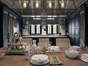 Biệt thự 3 tầng cổ điển - Ý tưởng bóng râm cửa sổ cho phòng ăn