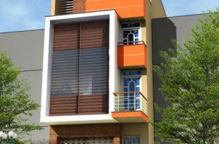 Mẫu nhà ống 4 tầng 4,5x18m hiện đại với lam chắn nắng - Phối cảnh kiến trúc