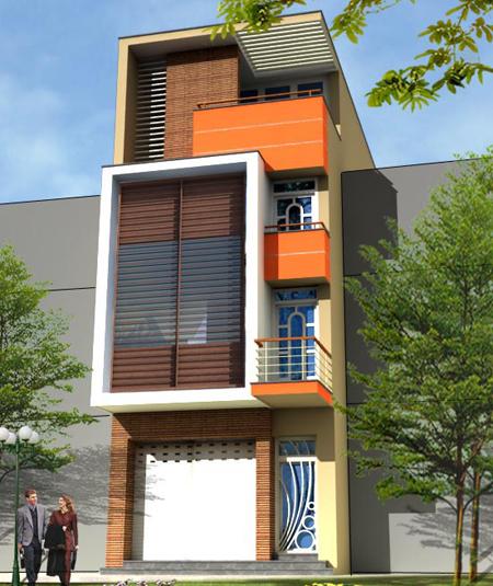 Mẫu nhà phố 4 tầng 4,5x18m hiện đại với lam chắn nắng - Phối cảnh kiến trúc