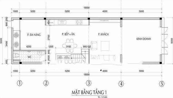 Mẫu nhà phố lệch tầng 5x18m cao 3 tầng - Mặt bằng tầng 1