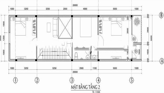 Mẫu nhà phố lệch tầng 5x18m cao 3 tầng - Mặt bằng tầng 2