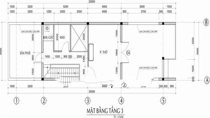 Mẫu nhà phố lệch tầng 5x18m cao 3 tầng - Mặt bằng tầng 3