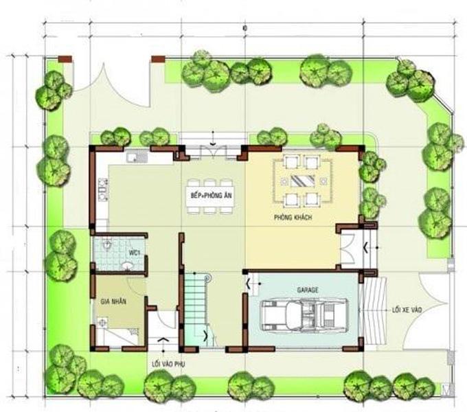 Mặt bằng công năng mẫu thiết kế biệt thự đẹp 3 tầng - 1